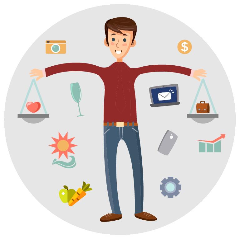 Work-life balance equal scales